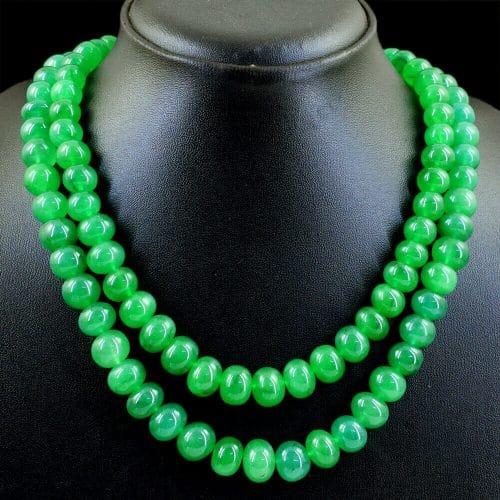 שרשרת 2 שורות אמרלד איזמרגד ברקת Emerald במשקל: 769 קרט סוגר: רקמה קצר \ ארוך