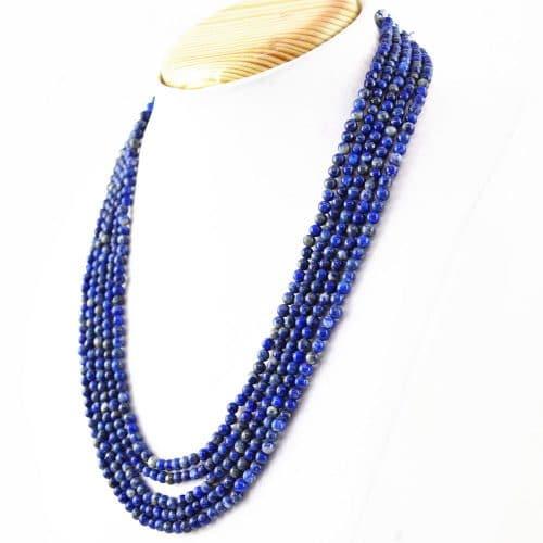שרשרת 5 שורות לאפיס לג'ולי Lapis lazuli משקל: 316.50 קרט סוגר: רקמה קצר \ ארוך