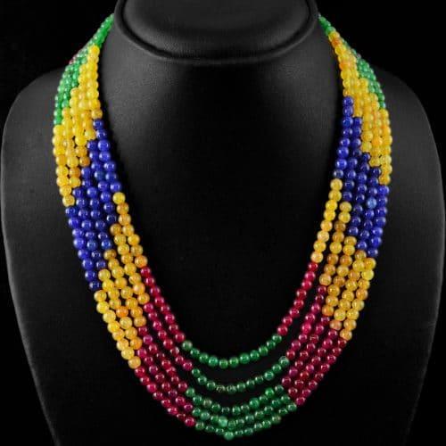 שרשרת 5 שורות אמרלד רובי וספיר Sapphire Ruby Emerald משקל: 359 קרט סוגר: רקמה קצר \ ארוך