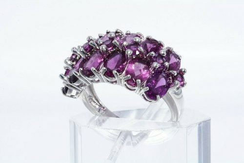 טבעת יוקרה כסף 925 משובצת 19 גרנט רודולייט משקל: 4.20 קרט מידה: 6.25