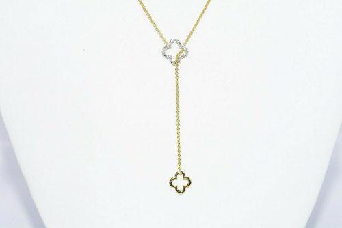 תכשיט יוקרה תליון ושרשרת מחובר כסף 925 בציפוי זהב בשיבוץ 18 יהלומים לבנים משקל: 12. קרט