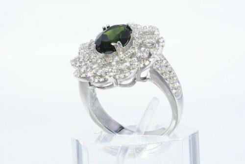 טבעת יוקרה כסף 925 בשיבוץ דיופסיד בשיבוץ 162 טופז לבן מידה: 8