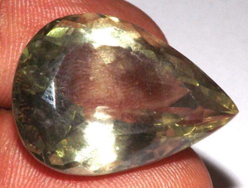 קוורץ לימוני Quartz-crystal מלוטש לשיבוץ - אפריקה במשקל: 27.5 קרט