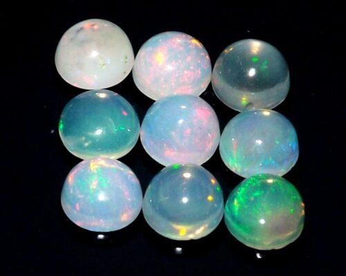 """אופל אש Opal מלוטש לשיבוץ - אתיופיה 9 יחידות במידה: 5 מ""""מ"""
