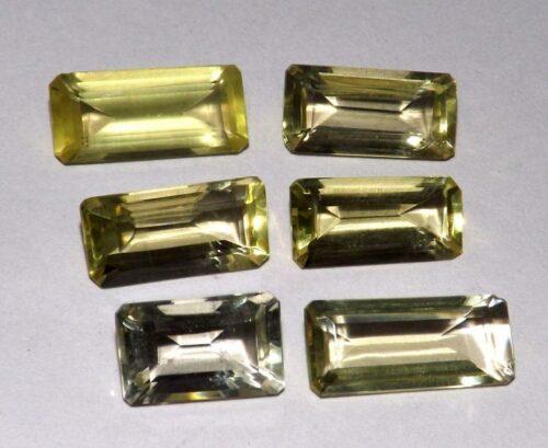 קוורץ לימוני Quartz-crystal מלוטש לשיבוץ 6 יחידות במשקל: 28.40 קרט